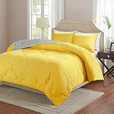 Comfort Spaces  Vixie Reversible Down Alternative Comforter Mini Set - 2  Piece  Yellow and