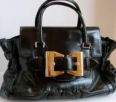 Posh Closet Shop Posh Closet Gucci Black Leather Patent Leather Handbag Purse