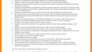 Company Vehicle Use Agreement Policy Company Vehicle Use Agreement