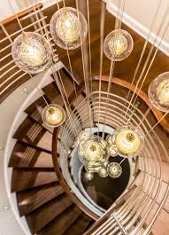 best modern lighting. kadur twostory staircase feature shakuff custom chandelier bubble glass best modern lighting