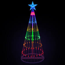 Cone Lights Christmas Kringle Traditions 144 In Christmas Multi Color Led Animated Lightshow Cone Tree With 442 Lights And Star Topper