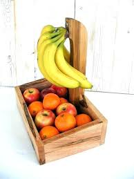 fruit basket with banana holder fruit bowl banana hook holder ket wooden farmhouse decor kitchen wood wire fruit basket banana holder