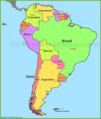 Map Of South America With Countries And Capitals South