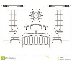 Bedroom Interior Design Drawing Bedroom Interior Hotel Room In Retro Design Vector