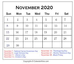 November 2020 Calendar With Holidays Calendar Wine