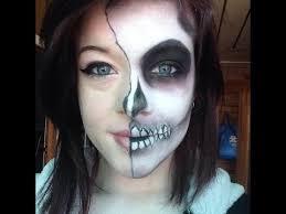 emo skeleton face paint makeup easy half skull tutorial