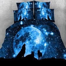 midnight blue wolf print wild animal jungle safari themed twin full queen king size bedding sets
