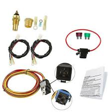 185 165 dual electric cooling fan wiring thermostat 40 amp relay kit dual electric car cooling fan wiring harness kit 185 165 thermostat 40a relay