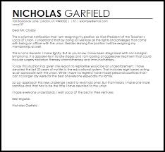 Template Of Letter Of Resignation Union Resignation Letter Example Letter Samples Templates