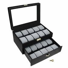 Ikee Design Watch Box Ikee Design Goldtone Key Lock Watch Display Case Black Grey