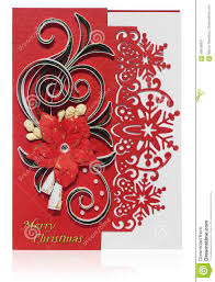Poinsettia Card Handmade Christmas Card With Merry Christmas Greetings And