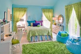 purple green and blue teen girl s bedroom