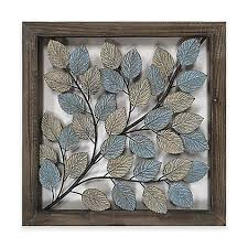 leaves metal wall art in blue amp  on metal puzzle wall art sculpture with metal wall art metal wall decor bed bath beyond