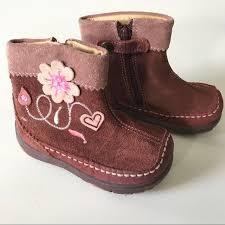 Primigi Baby Girl Suede Flower Brown Boots 21 5 5