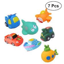 7pcs bath toys animals water spraying squeaker fun cartoon family bathtub toys for babies toddlers kids