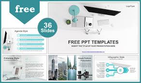 template office simple office computer view powerpoint template