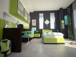 contemporary kids bedroom furniture green. Kids Room: Hip Modern Teen Boy Space With Large Richly Dark Brown Finished Desk Spans Contemporary Bedroom Furniture Green N