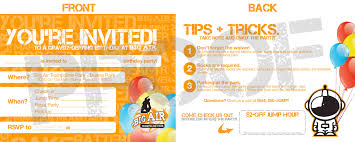 Sample Party Invite Birthdays Big Air Buena Park Trampoline Park Kids Party Place