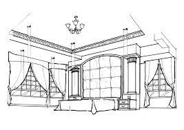 Interior Design Drawing Gorgeous Black White Drawing Fabron Design Interior Design Drawings