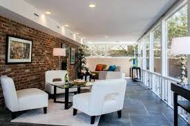 sunroom flooring ideas flooring for dc metro slate tile flooring with painted brick mounted fireplaces porch