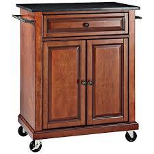 York Black Granite Top Cherry Kitchen Island Cart 7H019 Lamps Plus