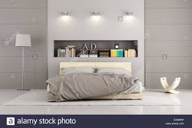 Wooden Double Bed In A Contemporary Bedroom With Niche , Books And Decor  Objects   3D Rendering