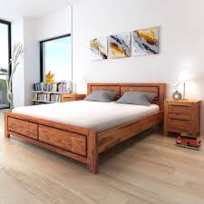 Details about vidaXL Solid Acacia Wood Bed Frame King Size Brown Bedroom Sleeper Furniture