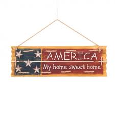 glitzhome wooden wall hanging patriotic word sign america my home sweet