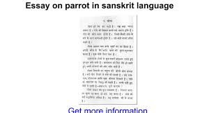 essay on parrot in sanskrit language google docs