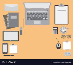Top view office table Royalty Free Vector Image