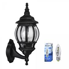 windsor black vintage lantern style outdoor wall light ip44 rated