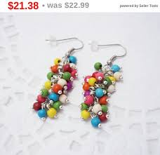 colored bunch chandelier gemstone funky cer earrings turquoise natural stone mixed colors summer beaded earrings jewelry gift fo
