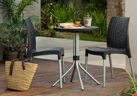 Amazon.com: Keter Chelsea 3-Piece Resin Outdoor Patio Furniture Dining  Bistro Set with Patio Table and Chairs, Charcoal: Garden & Outdoor