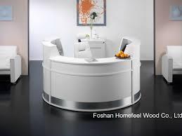 white high gloss elegant salon reception desk counter hf r091