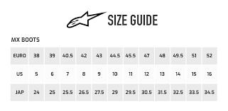 Alpinestar Tech 3 Size Chart 67 Genuine Alpinestars Boot Size Chart Uk