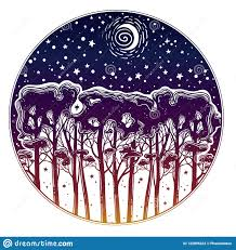 Night Starry Forest Of Tall Trees Silhouette Stock Vector