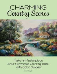 charming country scenes make a masterpiece grayscale coloring book with color guides