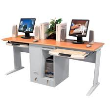 children s computer desk for two with locking cpu shelves and retractable keyboard trays