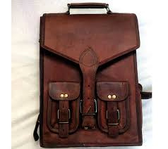 new large men s real leather backpack laptop bag hiking travel camping carry on