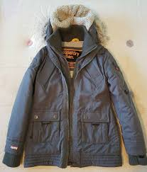 superdry uk official superdry womens coat size m parker winter padded warm jacket hooded