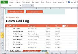 Sales Calls Template Sales Call Log Organizer For Excel