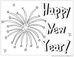 Happy New Year Coloring Page With