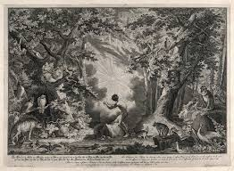 a blinding light descends on eden in the creation of man and the animals an etching of the garden of eden from j e ridinger c 1750