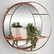 rose gold round mirror shelf metal wire