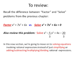 to review recall the difference between factor and solve