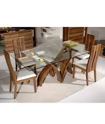 endearing glass topped dining table and chairs dream furniture teak wood 6 seater luxury rectangle glass top