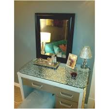 makeup vanity with glass top. diy vanity $5.00 goodwill glass top. $19.00 table makeup with top