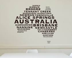 australian map city names modern wall stickers on city names wall art with world map wall decals vinyl wall art stickers