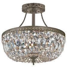 medium size of nerisa chrome crystal flush mount chandelier chrome and crystal 4 light flush mount