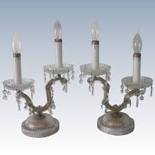 pair of vintage boudoir lamps candelabra crystal marble hollywood regency c1950